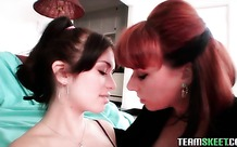 Milf kisses and licks a sexy lesbian teenager