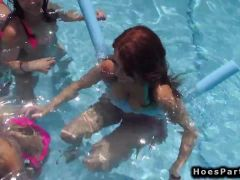 Teens at pool orgy party outdoors